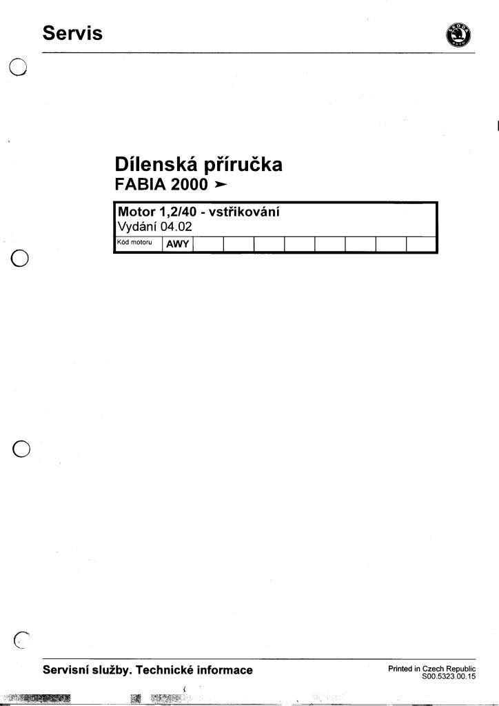 dílenská příručka škoda fabia 1.2 htp