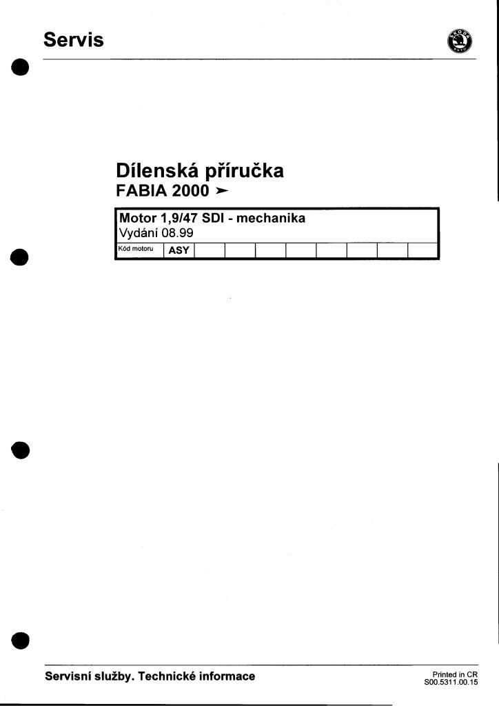 dílenská příručka fabia 1